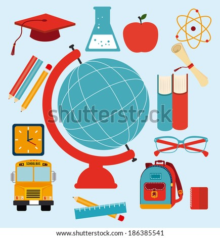 Back to school design over blue background, vector illustration - stock vector