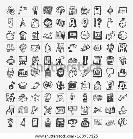 Back to School doodle hand-draw icon set - stock vector