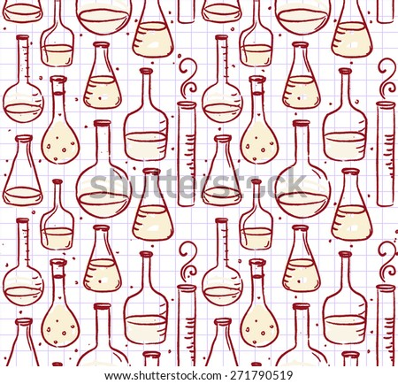 Back to school: Doodle style science laboratory beakers and test tubes illustration seamless pattern  - stock vector