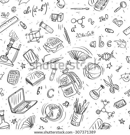 back to school doodles - stock vector