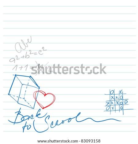 back to school doodles background - stock vector