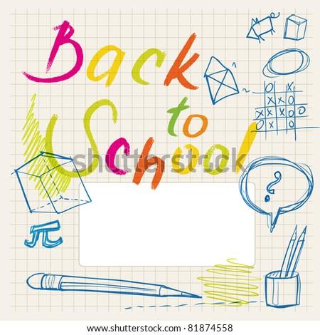 back to school doodles (background & border) - stock vector