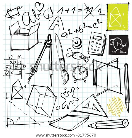 back to school doodles (different universal objects) - stock vector