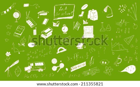 Back to school doodles. Hand drawn illustration. - stock vector