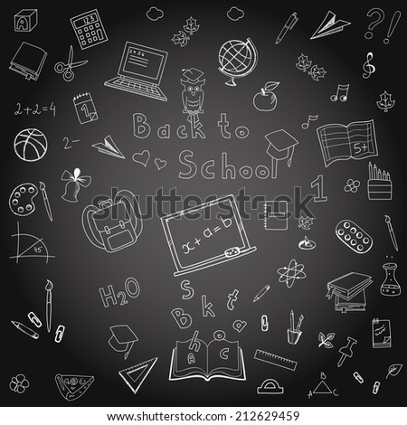 Back to school doodles in chalkboard background - stock vector