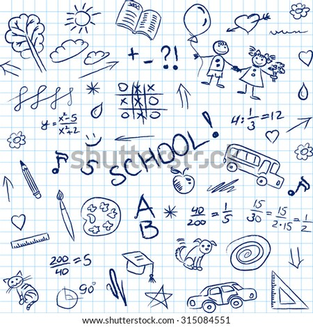 Back to school doodles in notebook, seamless pattern. Vector illustration