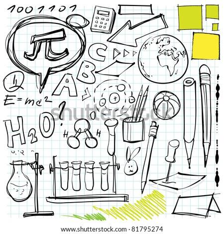 back to school doodles (laboratory, pen, pencils, lettering etc. symbols) - stock vector