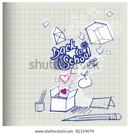 back to school doodles (out of box objects) - stock vector