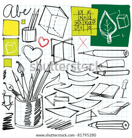 back to school doodles (pen, pencils, book, paper etc.) - stock vector