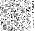 back to school doodles seamless pattern - stock