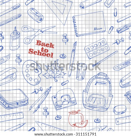 Back to School doodles seamless pattern on a paper. Vector illustration for your design
