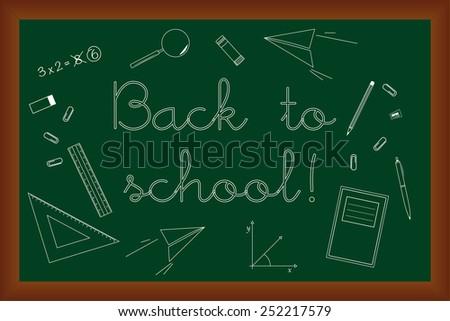 Back to school doodles set on green chalk board, vector illustration design elements  - stock vector