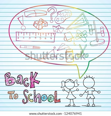Back to school draws with beautiful colors - stock vector