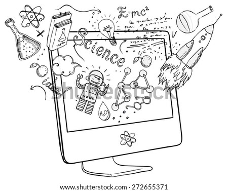 Back to School: e-learning technology concept with computer with science lab objects sketchy composition, vector illustration isolated on white.  - stock vector