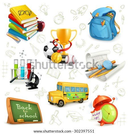 Back to school, education and knowledge, set icons, vector illustrations isolated on the white background with sketches - stock vector