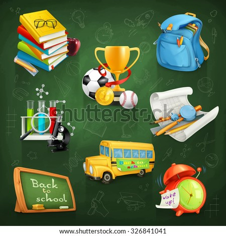 Back to school, education and knowledge, vector icon set - stock vector