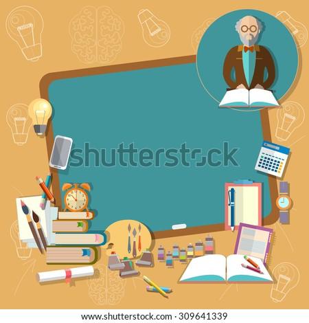Back to school education school board professor teacher classroom textbooks notebooks  vector illustration - stock vector