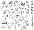 back to school / education set, vector cartoon, black line art isolated on white background illustration - stock vector