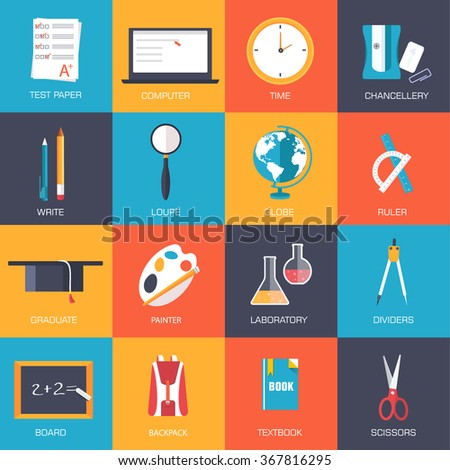 Back to school education vector art icons. Flat university elements set. Template palette symbols for your study design. - stock vector