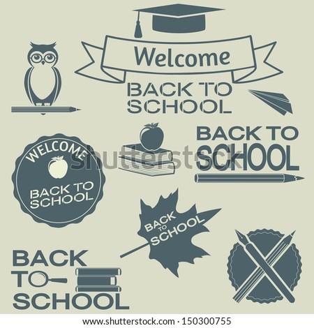 Back to school elements. Vector set, EPS 8. - stock vector