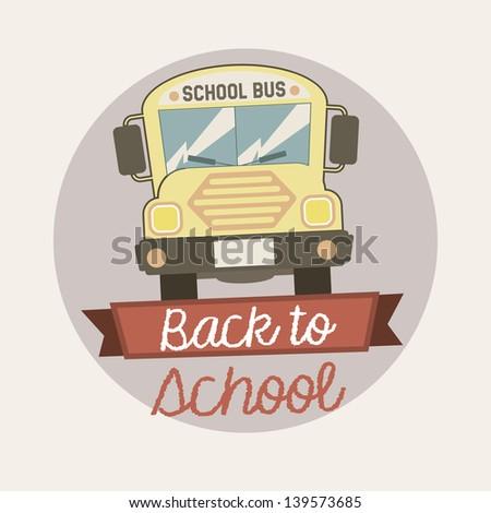 back to school emblem over vintage background vector illustration - stock vector