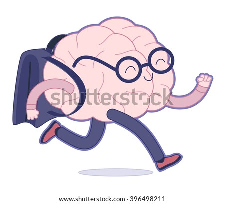 Back to school flat cartoon vector illustration - a brain wearing glasses running with a schoolbag. Part of a Brain collection. - stock vector