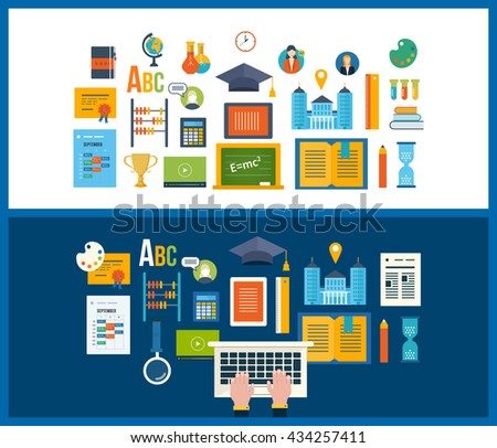 Back to school flat icons design. Set of distance education and e-learning. Online course from universities and colleges proposes video-on-demand, forum, communication. - stock vector