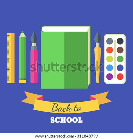 Back to school flat illustration. Green big book, tools and art supplies for design, drawing, painting. Vector stationery icon set of pen, pencil, brush, paints, ruler.  - stock vector