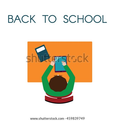 Back to school flat illustration with tablet and student in vector  - stock vector