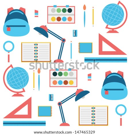 Back to school - flat seamless background - stock vector