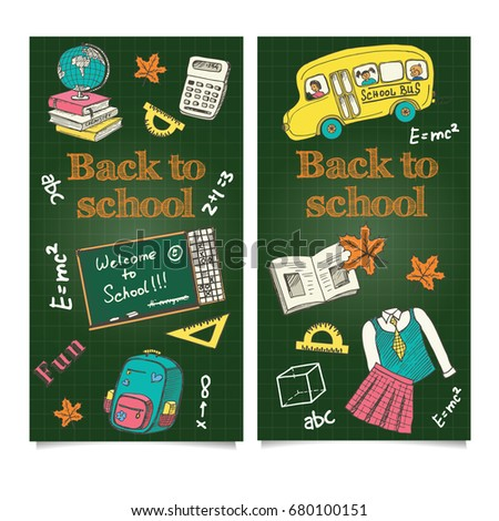 Back School Flyer Template Sale Banners Stock Vector
