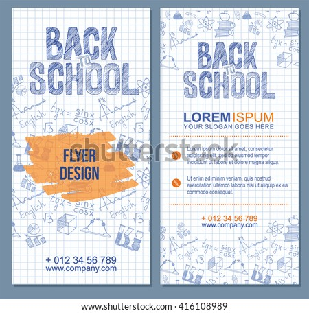Back to school flyer template with  different school obgects. school banners set - stock vector