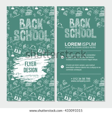 Back School Flyer Template Different School Stock Vector 416108989