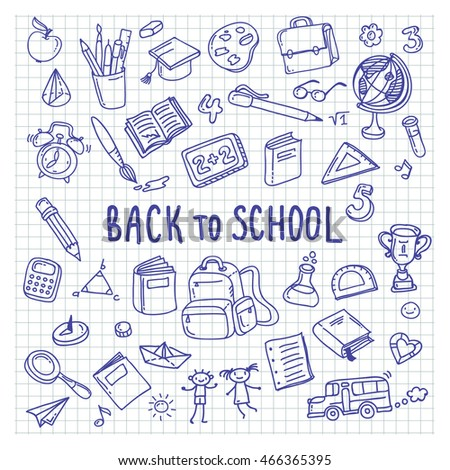 Back to school. Freehand drawing school items on a sheet of exercise book.