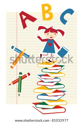 Back to school funny multicolored background. - stock vector