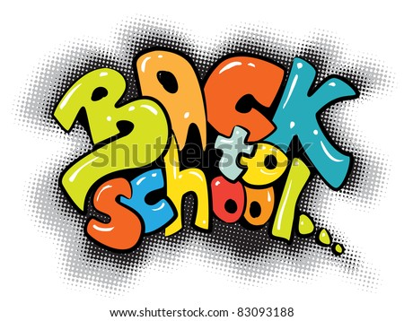 back to school graffiti sign - colorful design