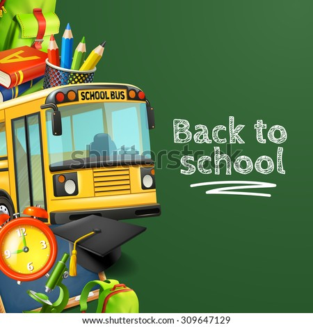 Back to school green background with bus pencils books and clock realistic vector illustration  - stock vector