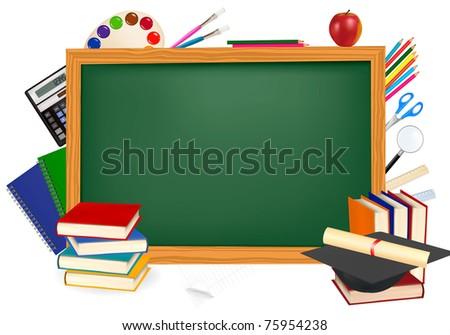 Back to school. Green desk with school supplies. Vector. - stock vector