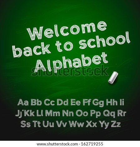 Back to school hand drawing chalk alphabet , vector illustration.  - stock vector