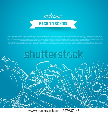Back To School hand drawn background with place for your text - stock vector