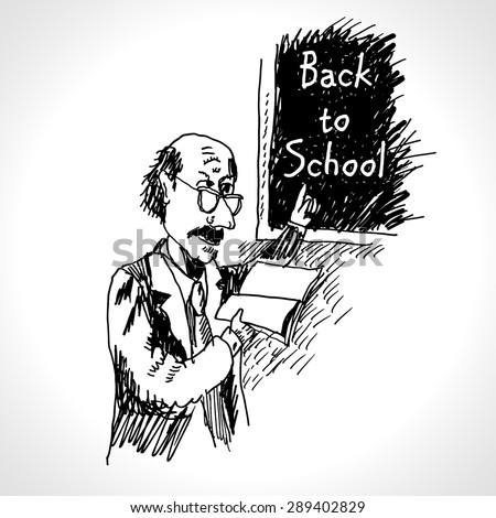 Back to school. Hand drawn vector illustration of a teacher and classic chalkboard in classroom