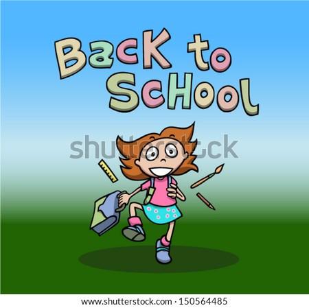 Back to school. Happy girl running. Cartoon. - stock vector