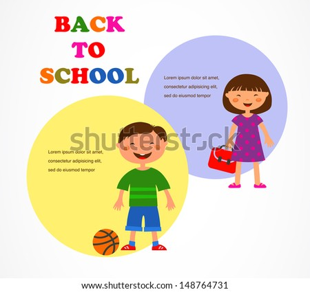 back to school, happy kinds going back to school - stock vector