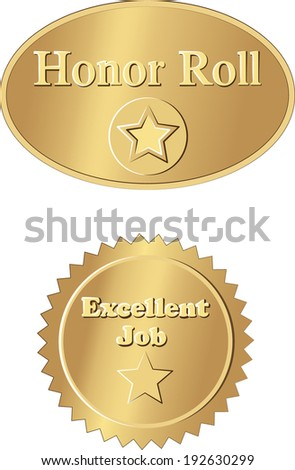 Back to school 3-Honor roll and excellent job gold foil stickers. EPS 10 - stock vector