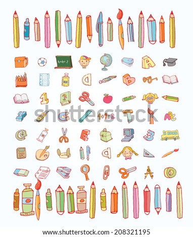 Back to school, icons, vector illustration. - stock vector