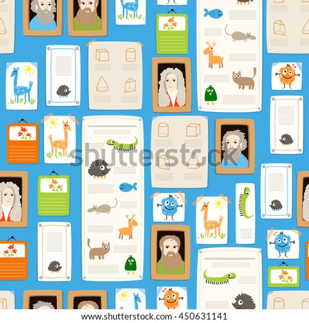 Back to school illustration in cartoon style with posters, portraits and calendars. Seamless vector flat pattern.