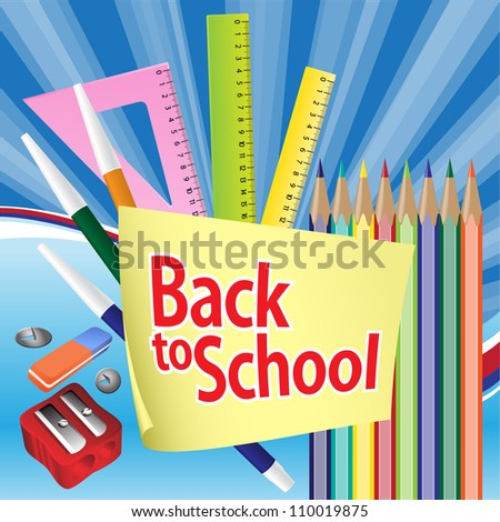 Back to school. Illustration of education object. Grouped for easy editing. In gallery some options are presented. - stock vector