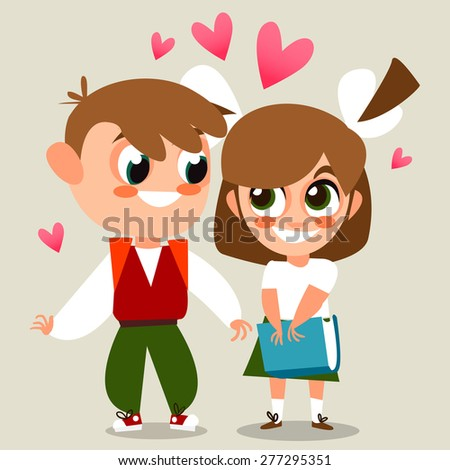Back to school.  illustration of school kid. Vector Illustration of Small Kids. Boy and girl together. Cartoon characters. A couple of lovers. The first school of love. - stock vector