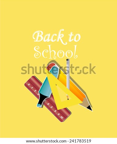 back to school illustration, school supplies over yellow color background