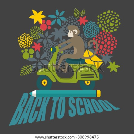 Back to school illustration with cute black and white monkey on the old scooter. Creative vector picture. - stock vector